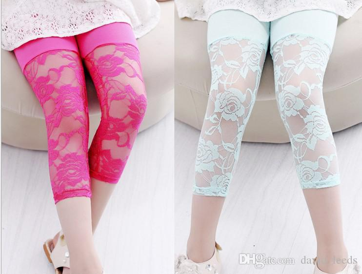 GXR Children Clothing Summer Children Leggings Candy Color 7 Points Girl Lace Leggings Modal Cotton Kids Tights Pants GX139