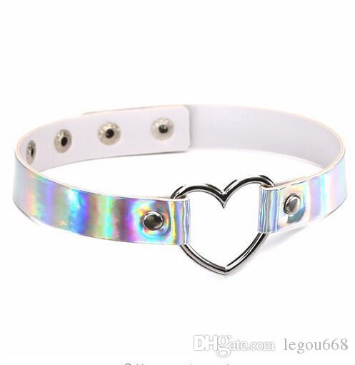 Trendy Sexy Punk Gothic choker necklace heart holographic Collar for women fashion adjustable Leather Belt festivals Jewelry GB358