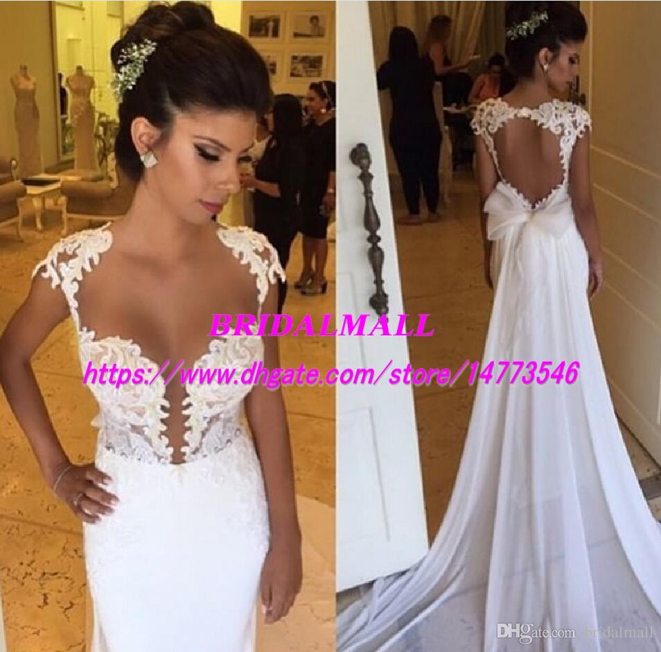 Backless 2019 Sexy Mermaid Wedding Dresses With Bow Sash See Through Neck Appliqued Boho Beach Bridal gowns Chapel Train vestido de noiva