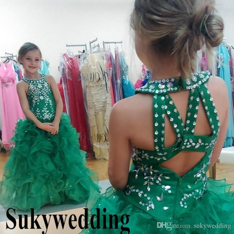 Sparky Green Girls Pageant Abiti Paillettes Beaded Glizta Cupcake Abiti Gonna Puffy Toddler Kid Prom Party Dresses Custom Made