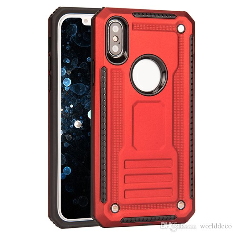 best service 3078e 795fa Hybrid Kickstand Tpu add Pc Armor Hollow Black Rose Gold Protective Phone  Case For iPhone X XS MAX XS