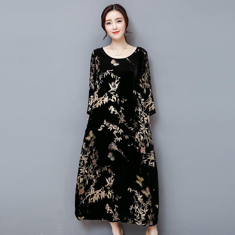 Autumn Winter Black Velet Dress Long Sleeve Vintage Floral Print Loose Long  Maxi Dresses Female Women Robe Vestidos Big Size 4xl Skirt Quinceanera  Dresses ... a91e92bf1aa3
