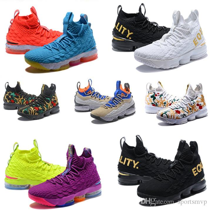 size 40 89ba2 92f93 Großhandel 2019 Neueste Ashes Ghost Floral Lebrons 15 Basketballschuhe  Lebron Multi Color Sneaker 15s Herren Sportschuhe König Lbj James Us 7 12  Von ...
