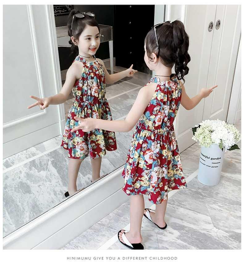 5c91ff20d Vestido de verano para niñas 2019 falda floral para niña Las flores de  estilo chino están llenas de felicidad y la falda de gasa con honda de ...