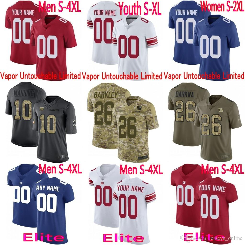 factory price c0c6d ee7f2 8 Daniel Jones custom Men Youth women Giants 26 Saquon Barkley Eli Manning  Lawrence Taylor BJ Hill Landon Collins Camo Elite Jersey