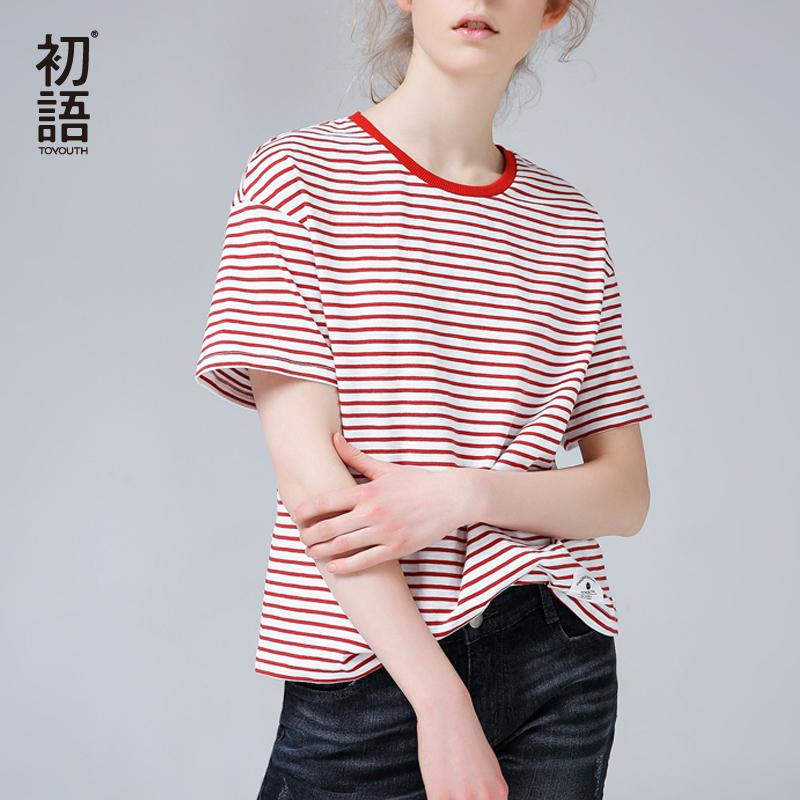 Toyouth Basis Streifen T Shirts Frauen Casual Oansatz Sommer Tops Kurzarm T-Shirt 2019 Korean Style Camisetas Mujer S19715