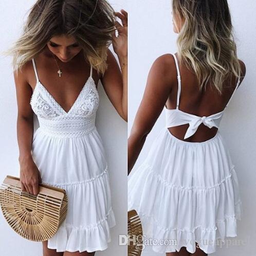 quality design 80913 92474 Frauen Sommer Sexy Weiß Spitze Backless Spaghetti Strap Kleid Lässig  V-ausschnitt Mini Strand Sommerkleid Halter Bogen Elegante Kleider