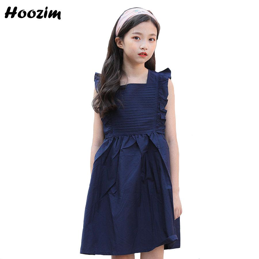 Summer Cotton A Line Dress Children 9 10 11 12 Age Casual Dresses Kids  Fashion Teenage Clothes Beautiful Ruffle Dress For Girls