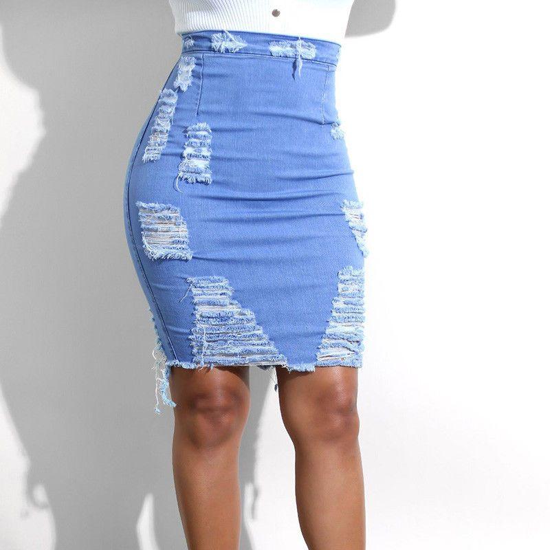 0cf8127c3eb Acheter Femmes Stretch Jupe Crayon Taille Haute Trou Jupes Jeans Denim Mini  Jupe Courte De  24.11 Du Dong1242
