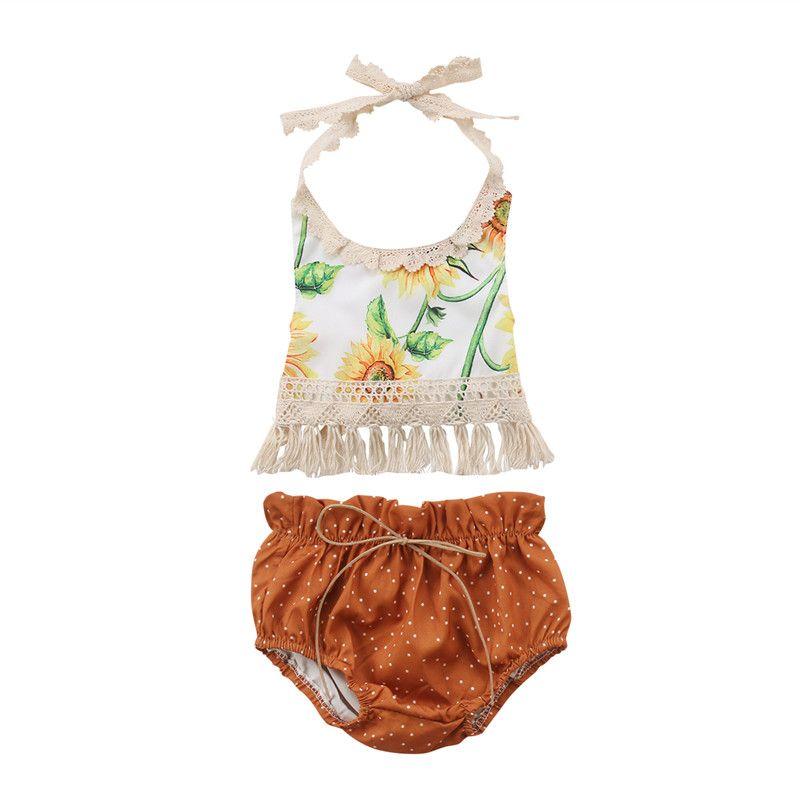 0697bfd5a95 Newborn Baby Girls Flower Tassels Tops Dot Shorts Set Yellow Outfits ...