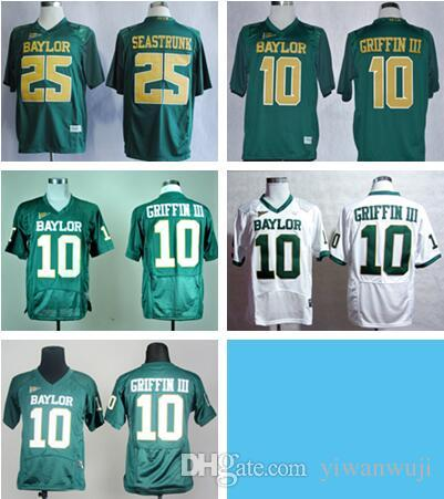 online store 631f1 fb65d Baylor 10 Robert Griffin III College Jerseys American Football 25 Lache  Seastrunk Jersey Team Color Green All Stitching jerseys