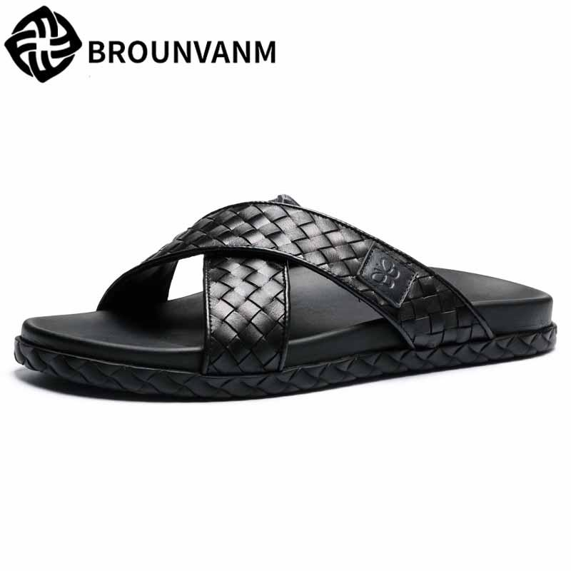 191c82150 Men S Slippers Summer Fashion Men Sandals Flip Flops Outside Soft British  Retro All Match Cowhide Genuine Leather Casual Shoes Wedge Shoes Flat Shoes  From ...