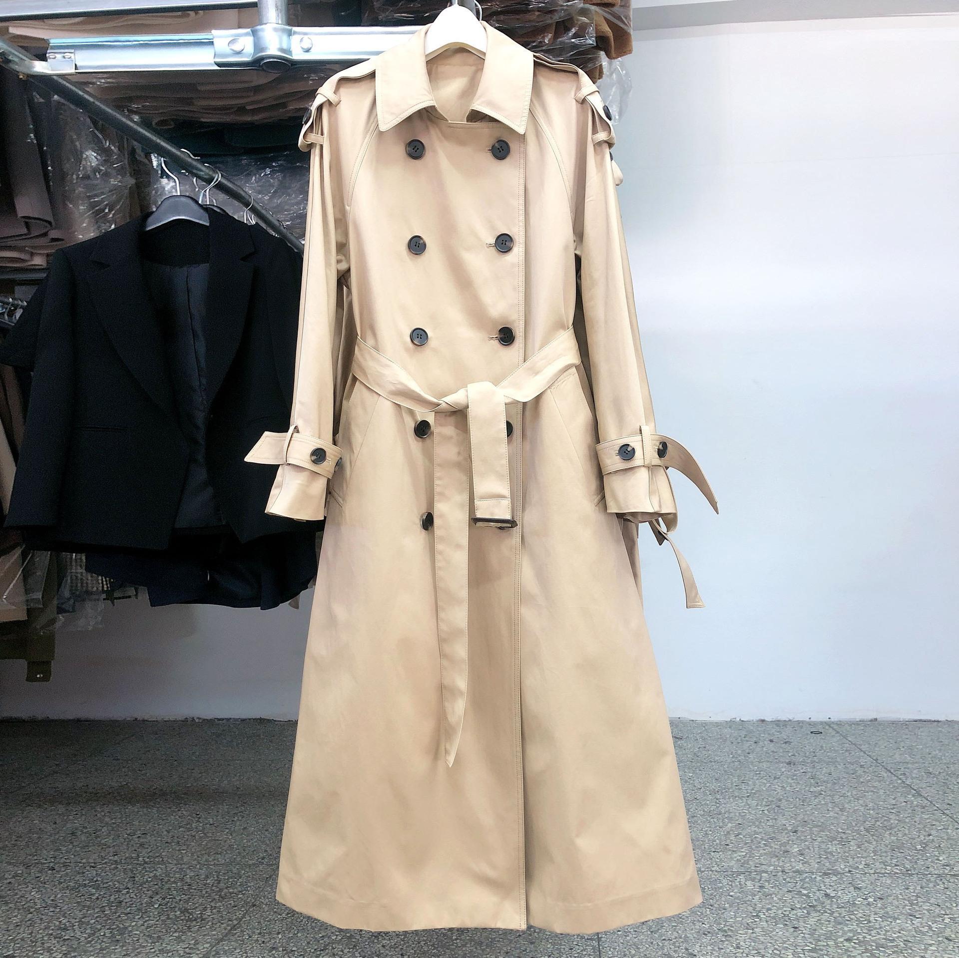 f4c7e1e0fc801 Satın Al Fashion2019 Sezonu Orta Uzunlukta Paragraf Diz Üzerinde Kadın  Gevşek Ceket Haki Mizaç Kadın Palto Rüzgarlık Eğlence Zamanlanmış, $95.67 |  DHgate.