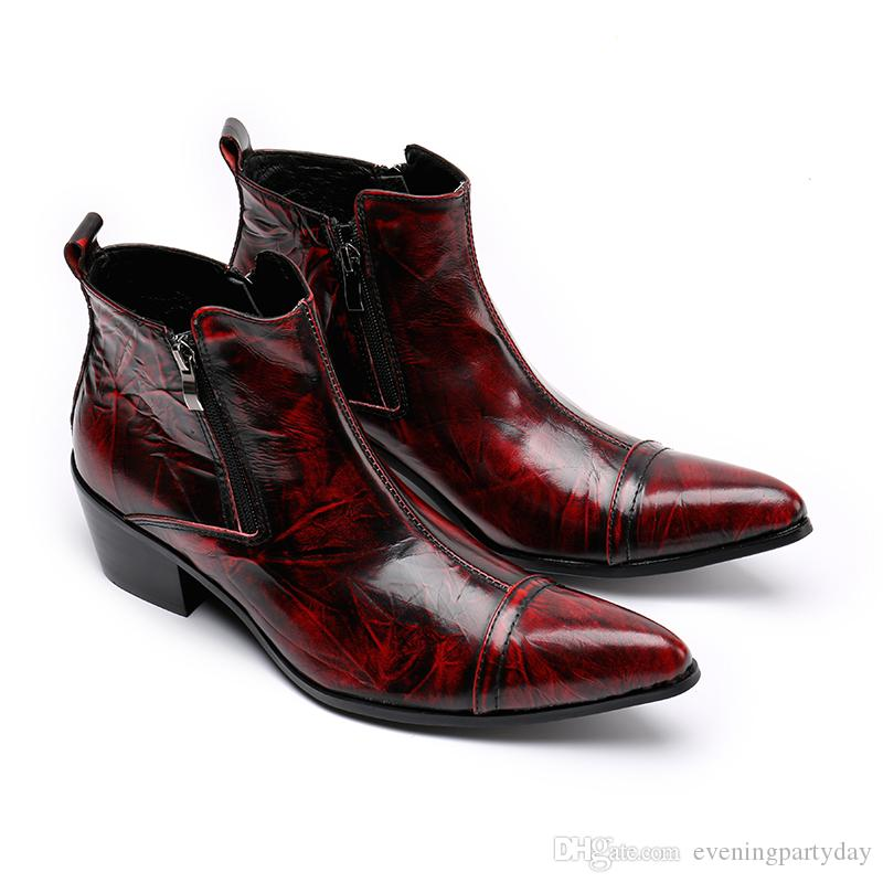 Men's Red Wedding Shoes 2019 Winter Shoes Genuine leather Men Pointed Toe Men's Dress Boots Men Height Inceased Men heels