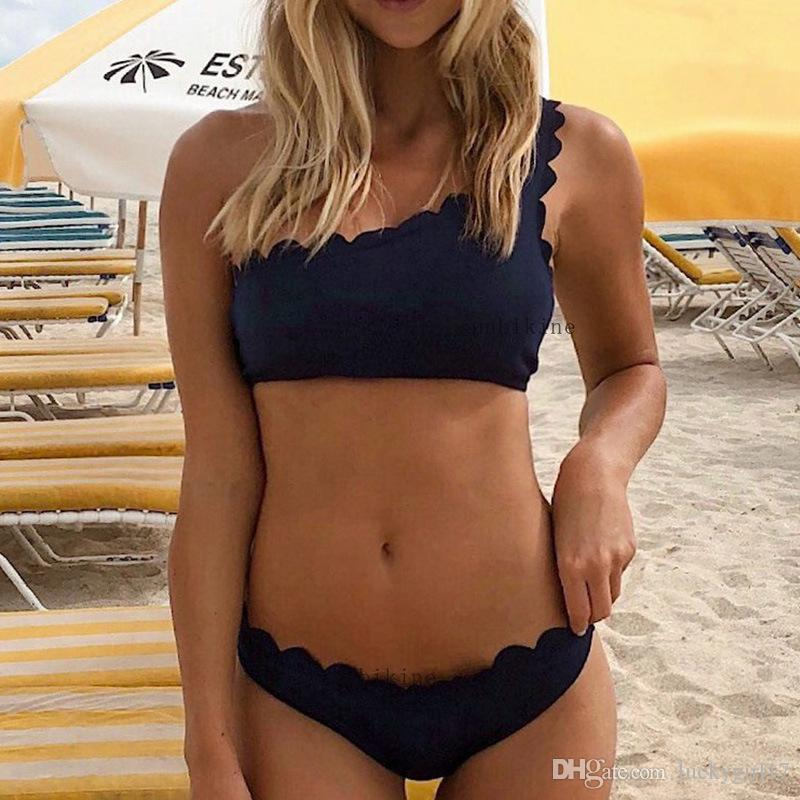 a117b6f6f1edf 2019 Women Wave One Shoulder Bikinis Set Summer 2019 New Padded Push Up  Swimwear Swimming Bathing Suit Female Swimsuit Sexy Two Piece Suits From  Luckygirl17 ...