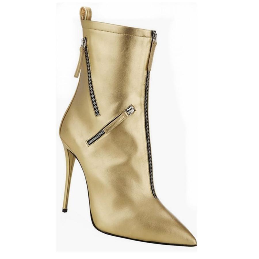 e4018c8a4ce Compre EMMA KING Para Mujer Botas Cortas Zapatos De Fiesta Dorados  Cremallera Sexy Ladies Boots Tamaño Grande 43 Tacón Alto Delgado Punta  Estrecha Moda ...