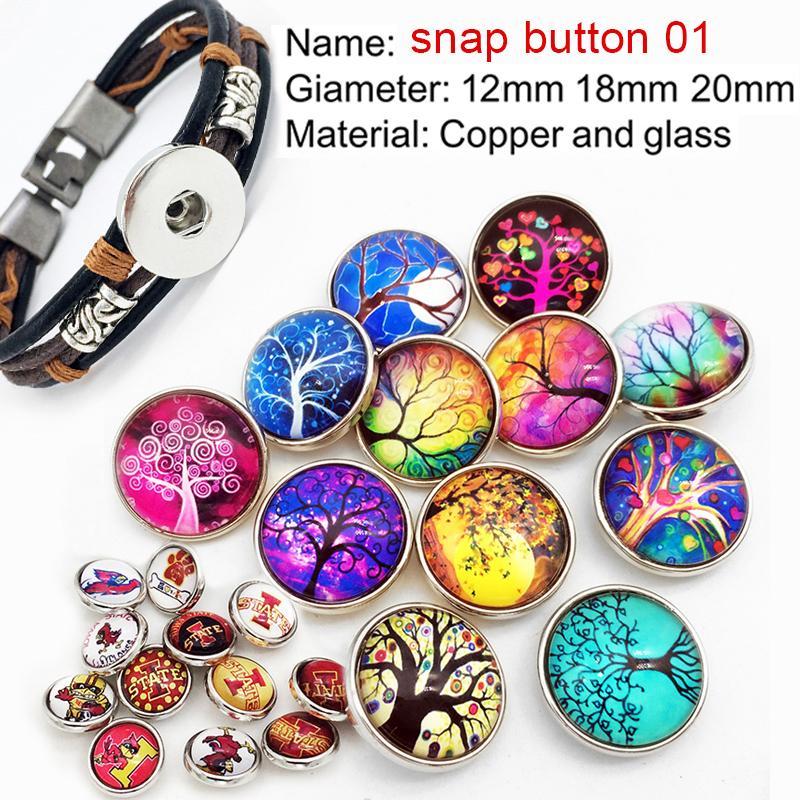 Mixde set alta calidad de dibujos animados 18 mm botón a presión de la joyería de cristal encantos Fit DIY pulsera Snaps joyería BP014