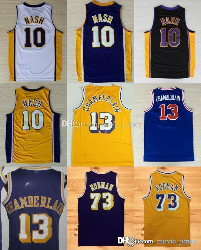 best service 44b75 6737d Los Angeles 10 Steve Nash Hot Basketball Jerseys #13 Wilt Chamberlain 73  Dennis Rodman Yellow Purple Stitched