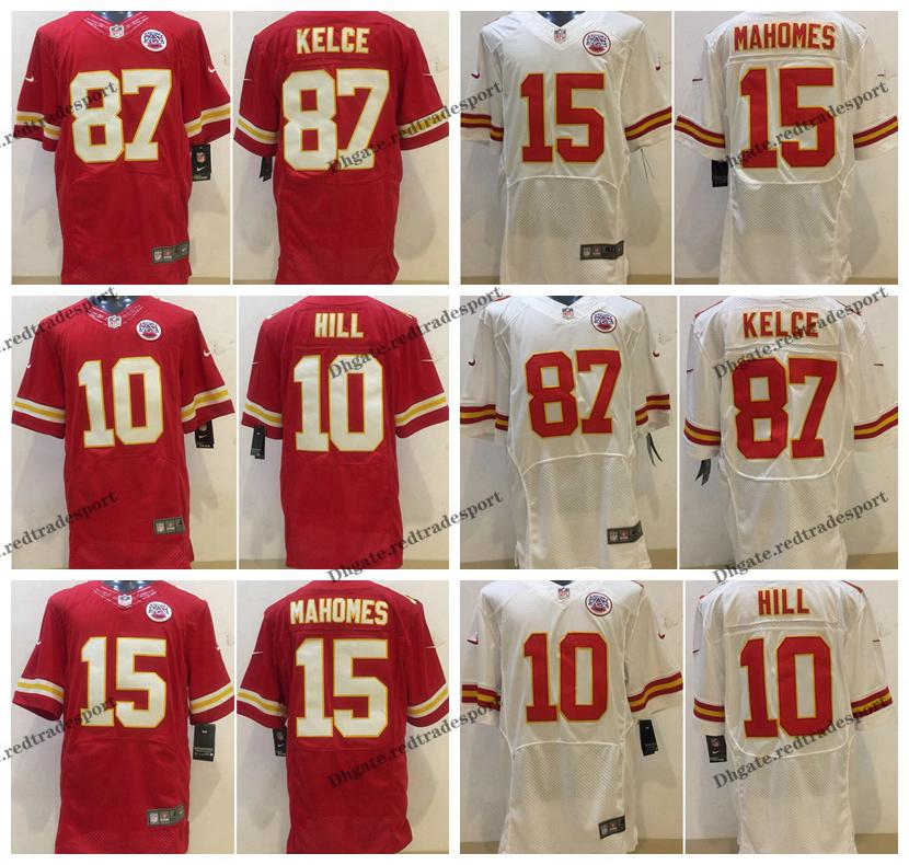 reputable site 6d2c0 fd2ed Elite Kansas City 4XL Chiefs 87 Travis Kelce Football Jerseys Cheap 10  Tyreek Hill 15 Patrick Mahomes Home Red Stitched Football Shirt M-4XL