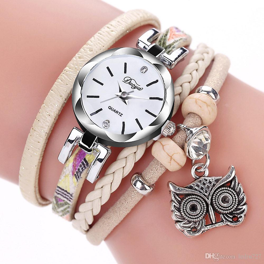 Round Owl Table Cute Owl Pendant Foreign Trade Hot New Surround Watch Small Twist PU Bracelet Woman Beautiful Simple Interesting Watch