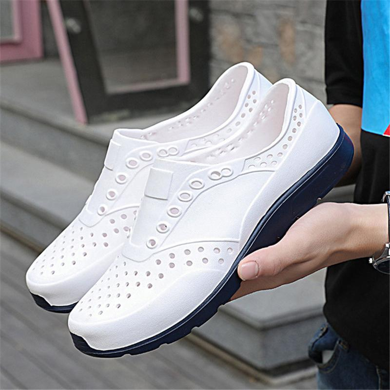 6454ee065c1 New Sandals Men Summer Wadding Shoes Hollow Garden Clogs Solid Slip On Casual  Shoes Outdoor Beach Slippers Soft Light Design Salt Water Sandals  Bridesmaid ...