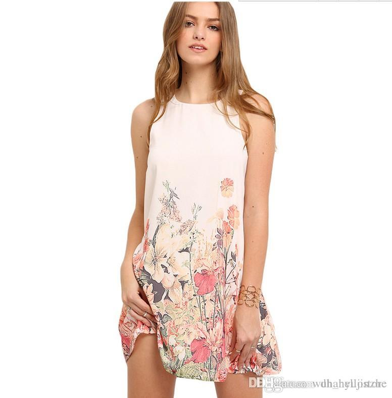 Ladies Multicolor Sleeveless Flower Print Boho Dresses New Arrival Womens Summer Round Neck Cut Out Cute Shift Dress CL440