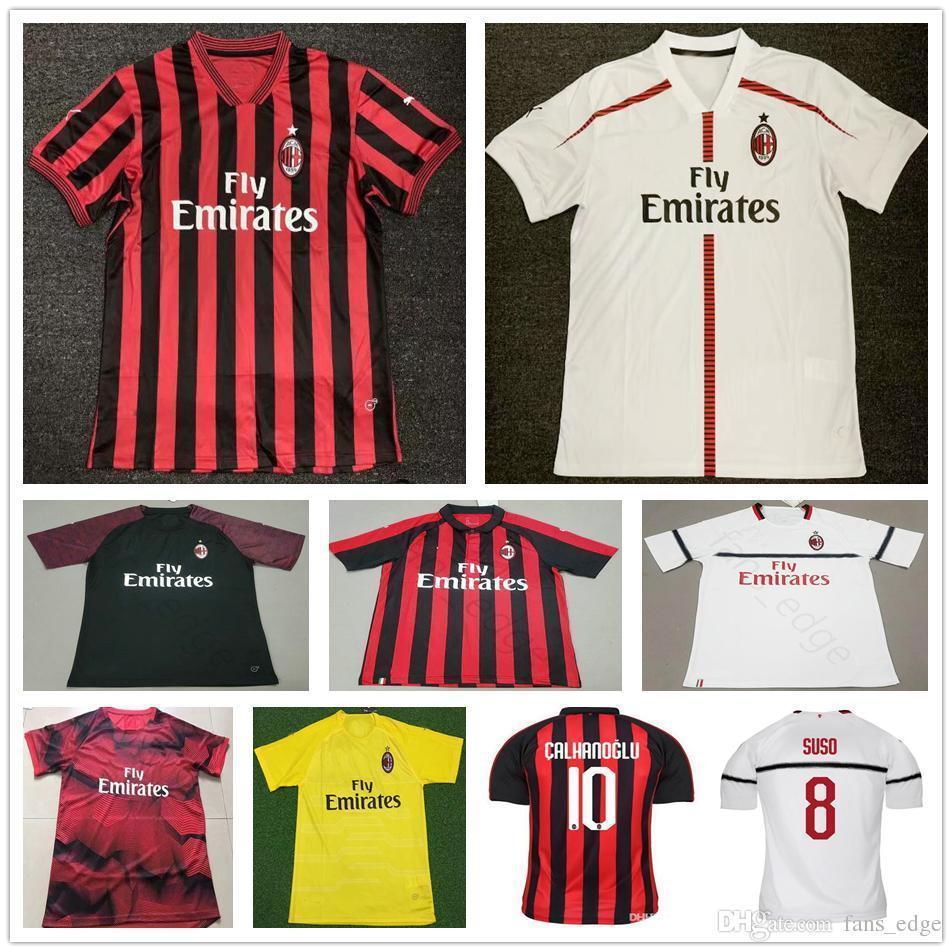 bca44f50f94 2019 19 20 Ac Milan Soccer Jersey Piatek Bacca Paqueta Bonucci Home Away  Bertolacci Menez Calhanoglu Custom 2019 Adult Kids Football Shirts From ...
