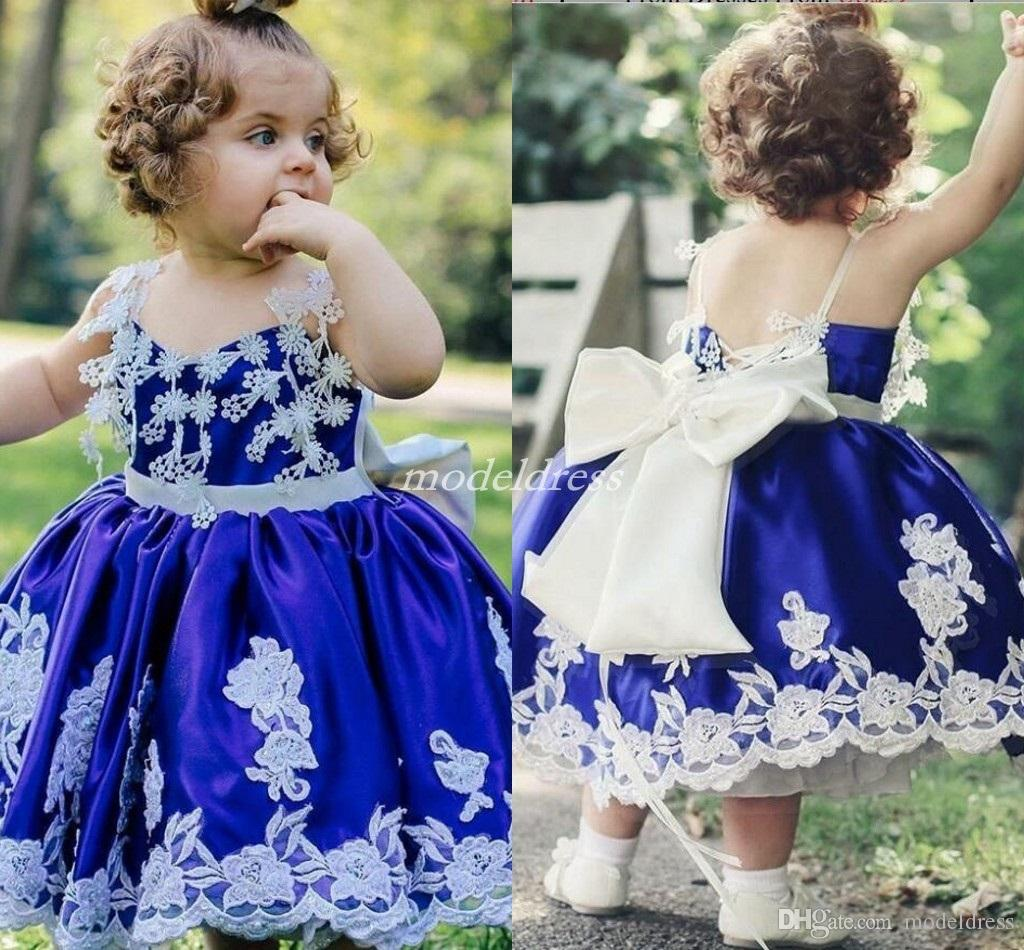 403eef6fd6 Royal Blue Little Girls Pageant Dresses Spaghetti Flowers Tea Length Sash  Bow Flower Girl Dress Child Birthday Party Gowns Kids Cosplay Wear Modern  Flower ...