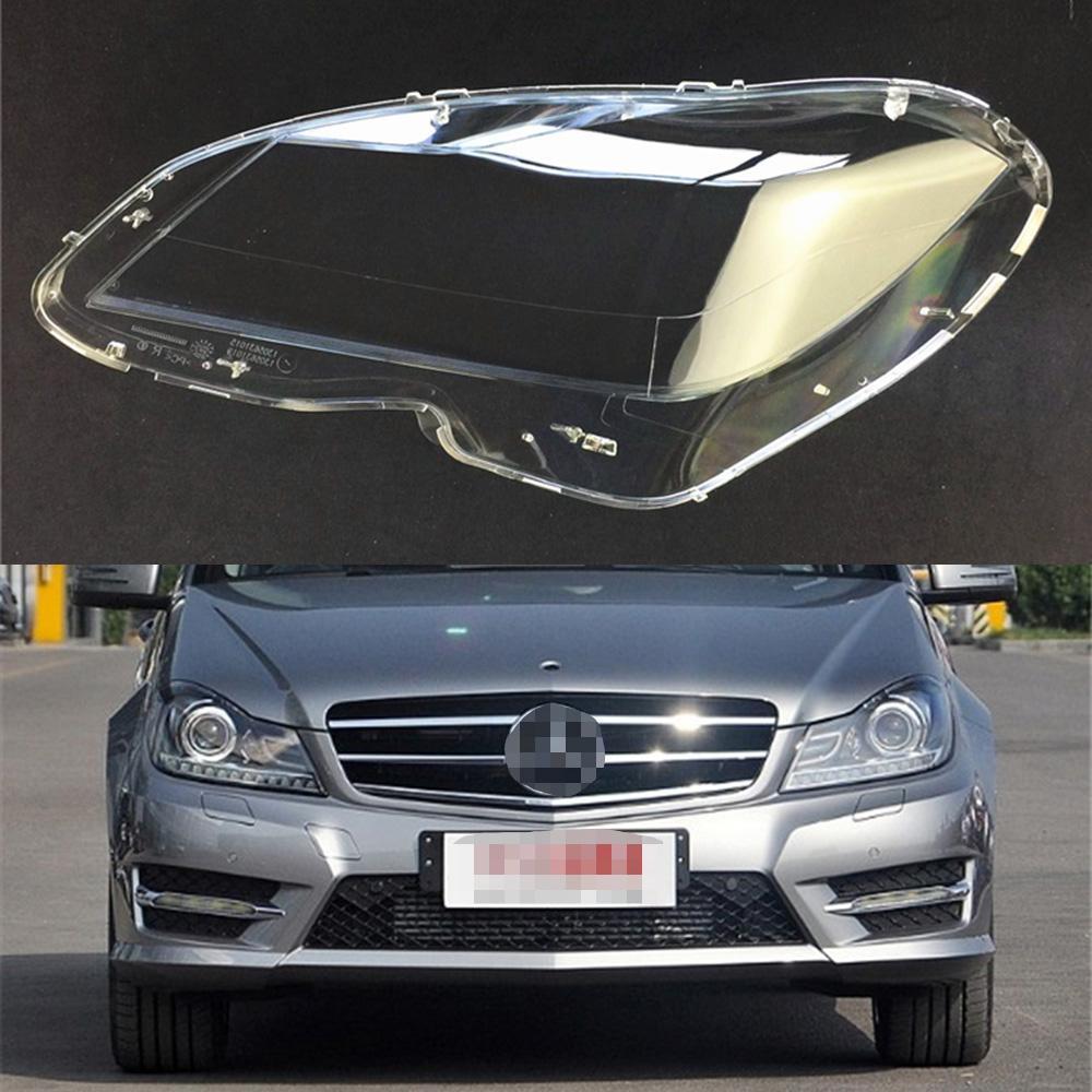 For Mercedes-Benz W204 C180 C200 C260 2011 2012 2013 Car Headlight Headlamp  Clear Lens Auto Shell Cover