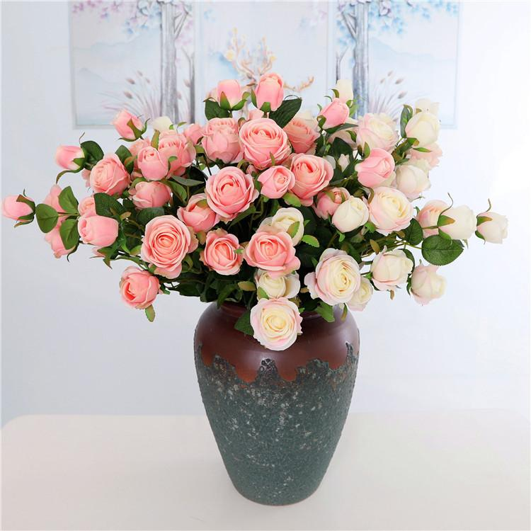 Festive & Party Supplies Home & Garden Artificial Flowers 5 Head Roses Simulation Flowers Bouquet Wedding Home Decoration Background Flower Wall Table Home Decor