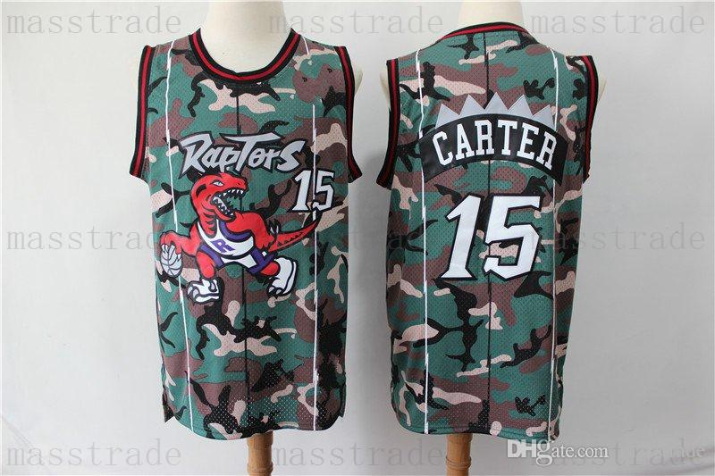 best service 1737a 92c6f Raptors Vince Carter Jerseys 15 Mens Vintage Tracy 1 Mcgrady Carter Serge 9  Ibaka Camo Purple White Red Black Home Away Basketball Jersey