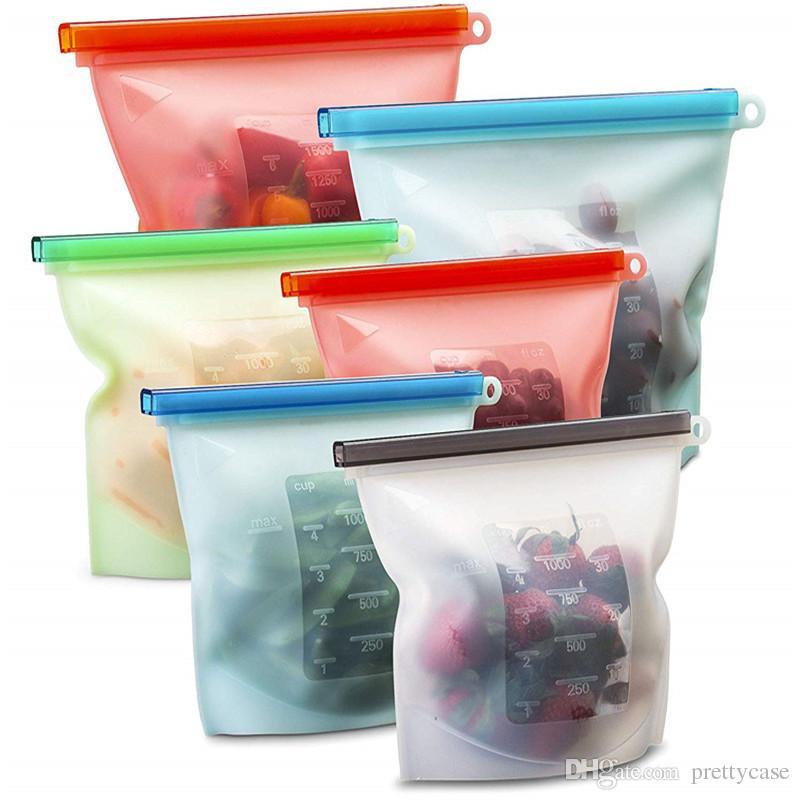 Reusable Silicone Food Storage Bag Food Grade Safe Longer Lasting Meal  Snack Savers Airtight Seal Bag for Freezer Preservation BPA Free