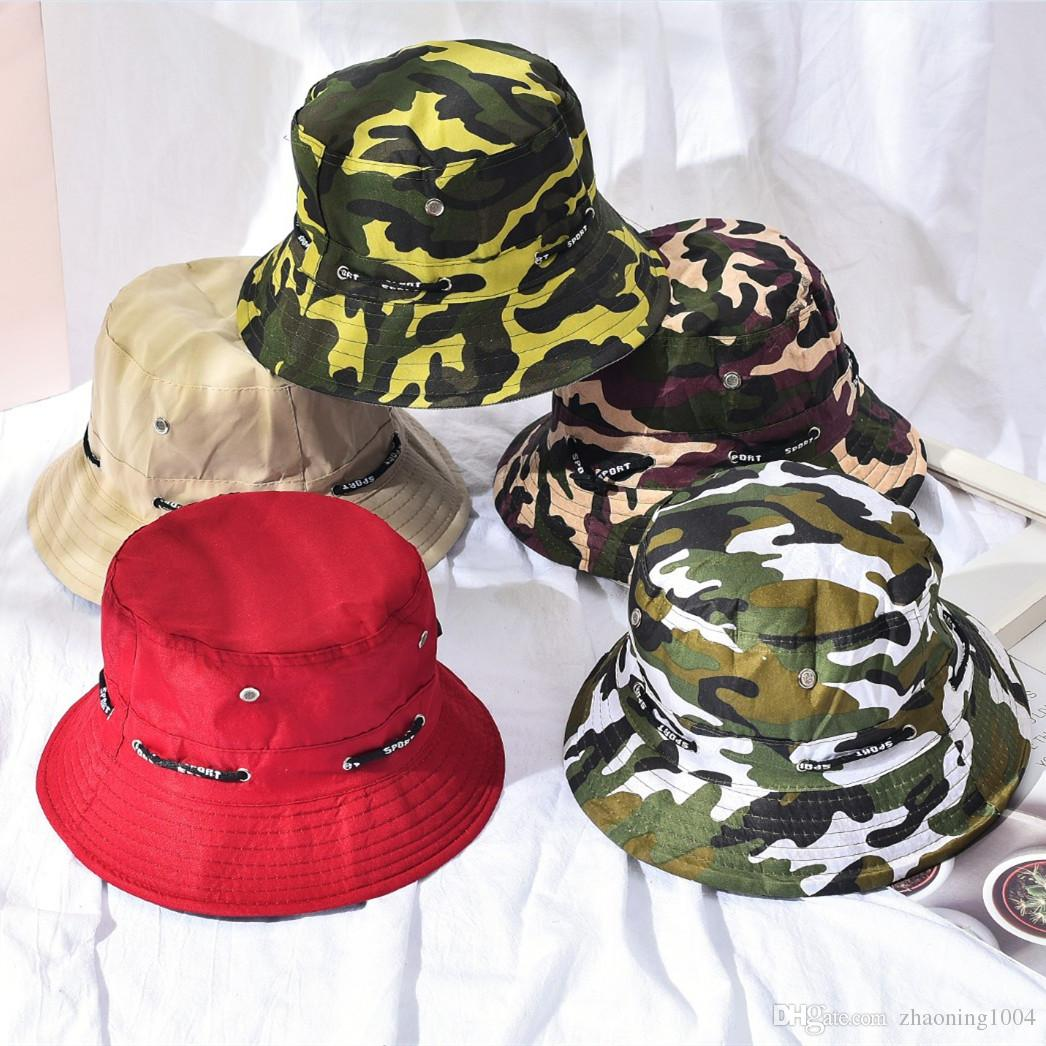 2019 Designer Bucket Foldable Camouflage Fishing Hat For Adults Mens Women  Sport Brim Bucket Caps Summer Cotton Beach Sun Hat From Zhaoning1004 37335745aee4