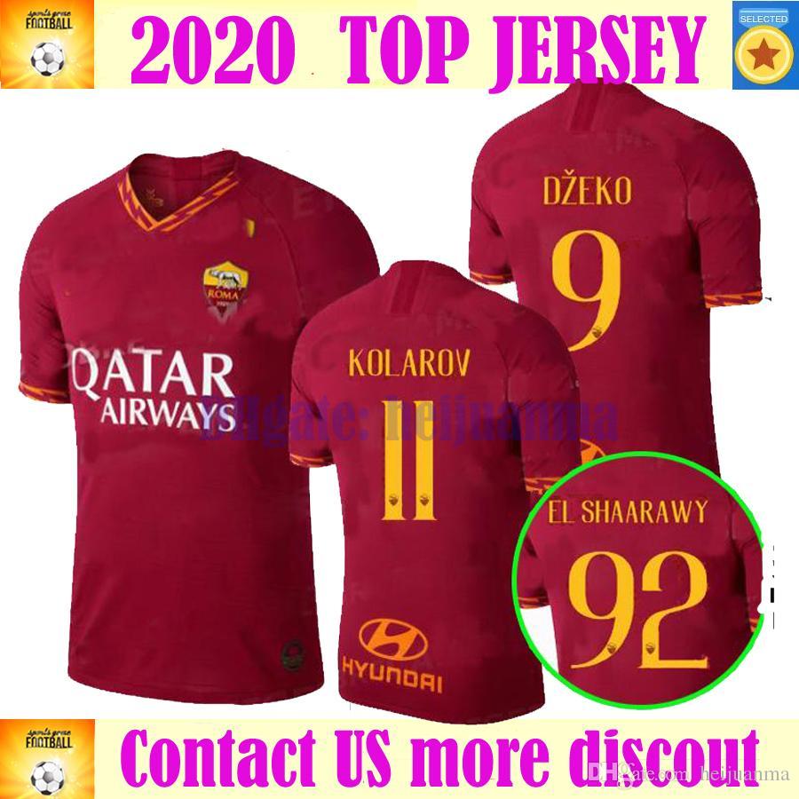 2020 ROMA soccer jersey 19 20 HOME rome DE ROSSI DZEKO EL SHAARAWY PASTORE  KOLAROV AS maglietta da calciatore casa rosso football