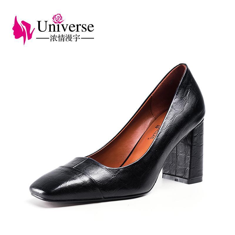 5d7f36972902 Office Shoes Women Luxury High Heels Genuine Leather 8cm Universe ...