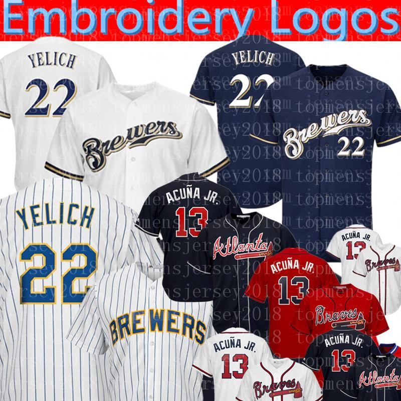 purchase cheap 45270 d59ed 22 Christian Yelich Milwaukee 2 Cerveceros Jersey Atlanta Hombres Bravos  Ronald Acuña Jr. cosido Jerseys de béisbol M-XXXL 999