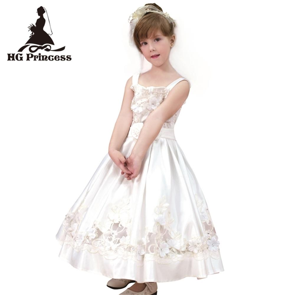 9e249fc51 2019 Formal Children Dress For 6 Years Flower Girl Dresses Embroidery Satin White  First Holy Communion Gowns Plus Size From Entent, $42.54 | DHgate.Com