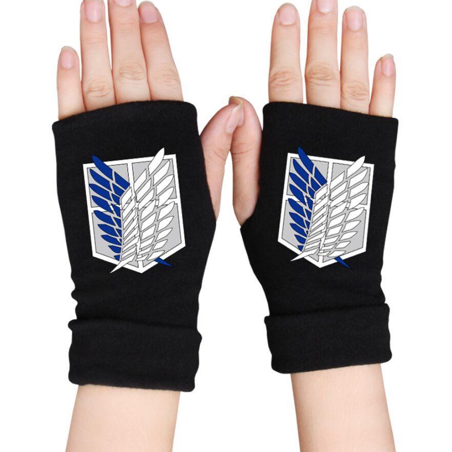 Attack on Titan Fingerless Gloves Knit Half Finger Mittens Unisex Winter Soft!