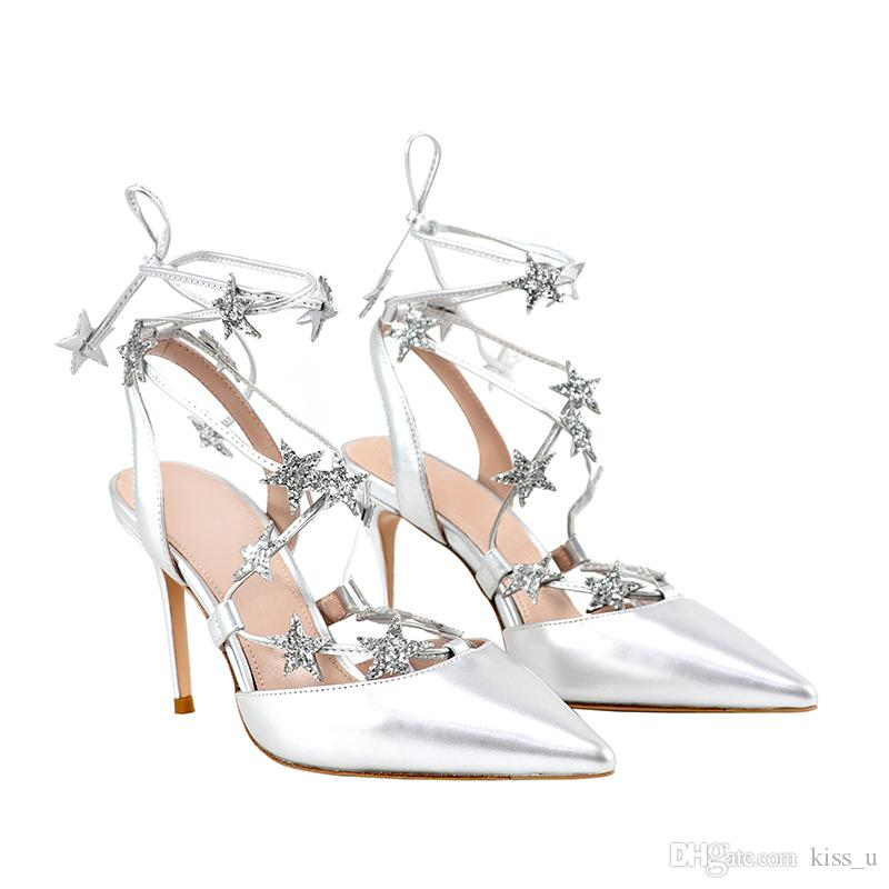 372c30eb36e7b 2019 Shoes Women s Shoes Sandals With Strap High Heels Silver Color Wedding  Shoes Large Size Star Charms