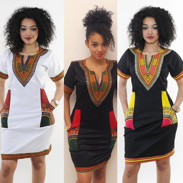 61a7b83f57b 2018 Top Selling Women s Traditional Tribal African Print Dashiki Style  Short Sleeve Party Bodycon Hippie Dress Online with  31.64 Piece on ...