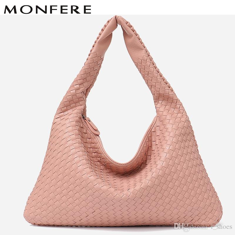 6af0f00168c9 MONFERE Brand Vegan Leather Hobo Bag Luxury Handmade Woven Handbags ...