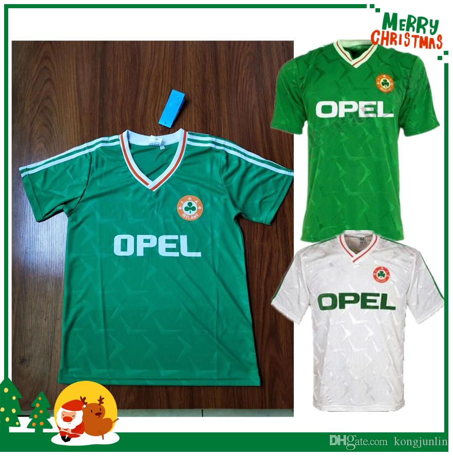 check out 4512b 0dc28 1990 1992 Ireland RETRO Soccer Jerseys Republic of Ireland National Team  Jersey 90 World cup Football kit soccer Shirt green