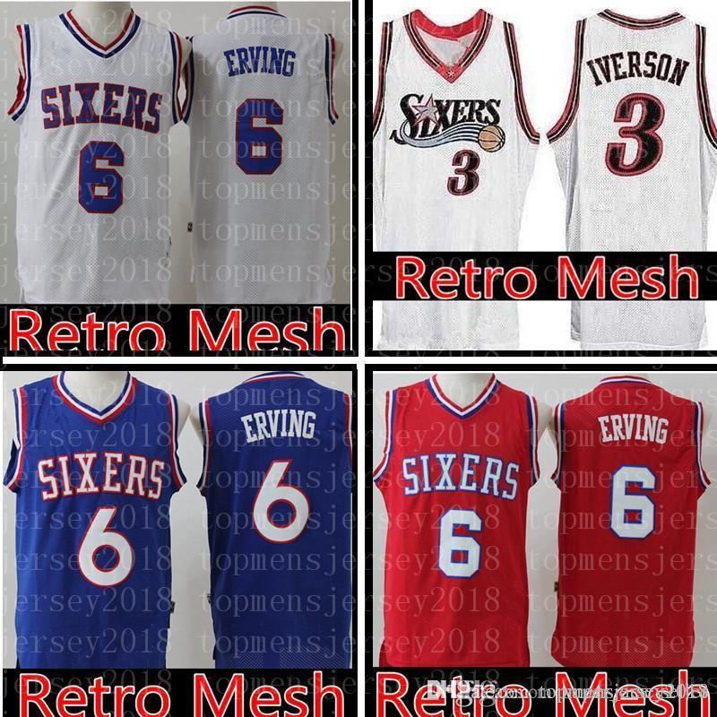 e4d24a74e2f1 2019 Mesh Philadelphia Julius 6 Erving 76ers Jersey Mens Blue White Allen 3  Iverson Retro Basketball Jerseys 100% Stitched From Topmensjersey2018