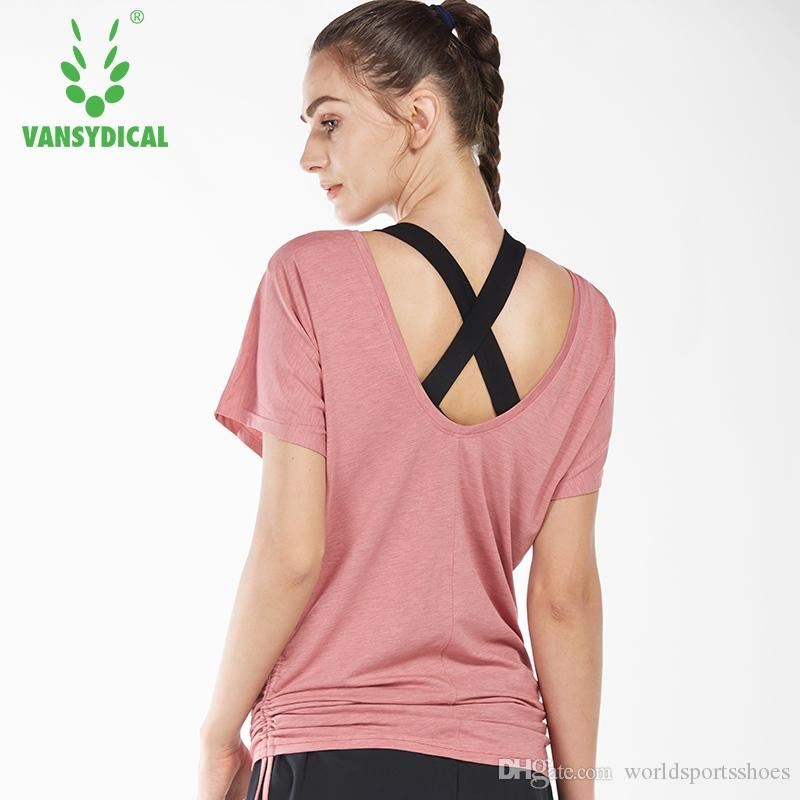 2019 Women Loose Yoga Shirts Backless Fitness Tops O Neck Running Jogger  Tees Breathable Workout Gym Clothes  321237 From Worldsportsshoes 00c995c313