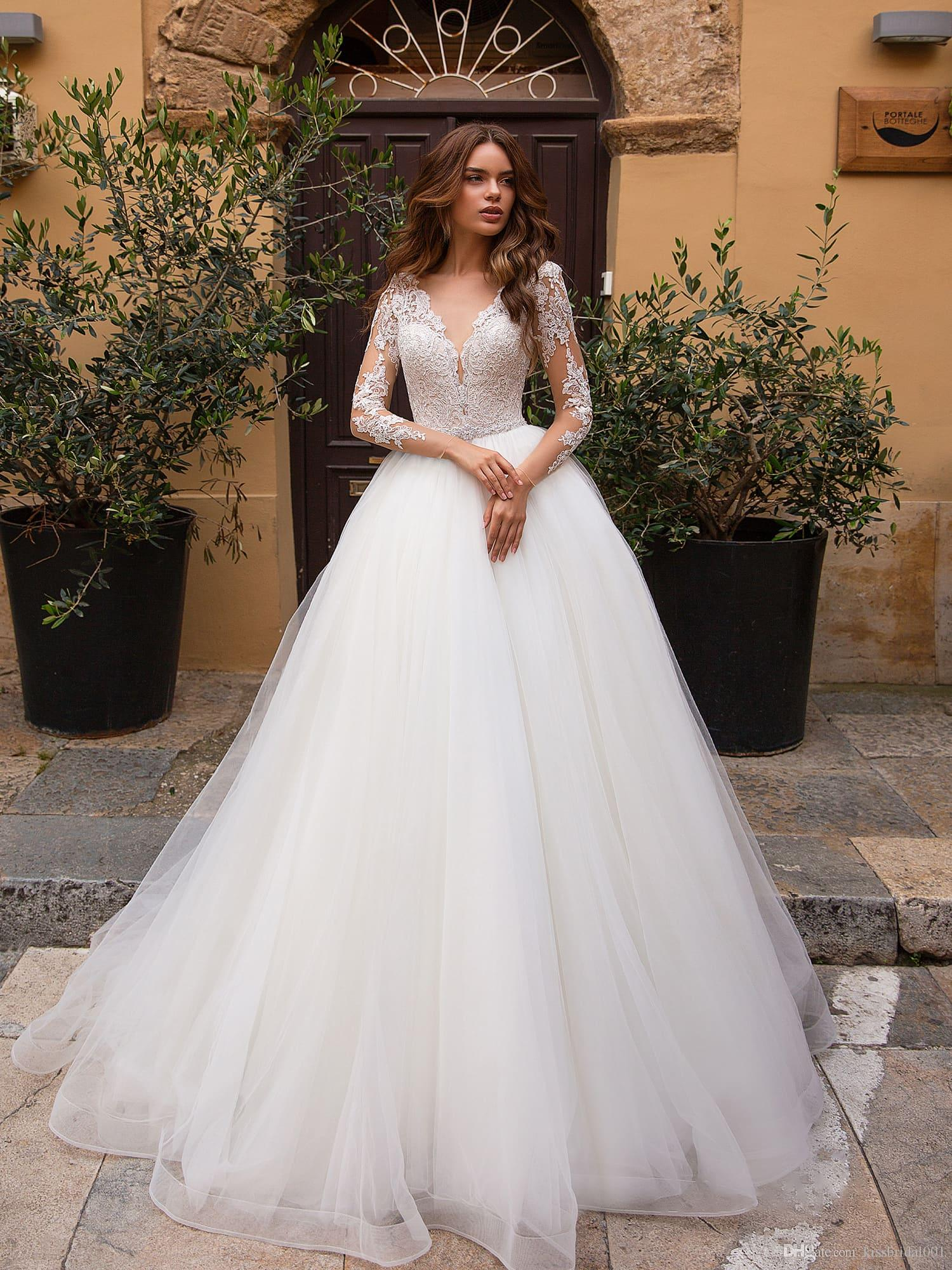 27e8e25b68ad Discount Corset Wedding Dresses Long Sleeve Deep V Neckline Lace Wedding  Dress Bridal Gowns Bride Formal Gown Cheap Bride Dresses Christian Wedding  Dresses ...
