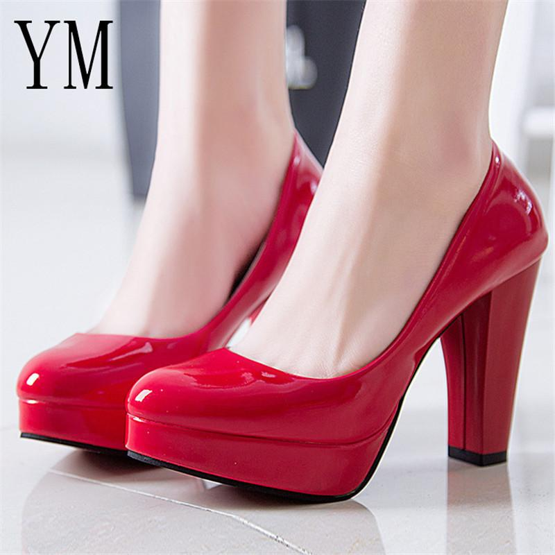 Designer Dress Shoes Hot Women Pumps Women Pu Leather Shallow Slip On Round  Toe High Heels Wedding Party Derss Mujer Plus Size 34 42 New Orthopedic  Shoes ... 72e3b9db102