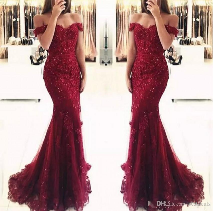 8d71fe44e94c Elegant Burgundy Off The Shoulder Beaded Lace Mermaid Prom Dresses 2019  Short Sleeves Floor Length Formal Evening Gowns Vestido De Fiesta Amazing  Prom ...