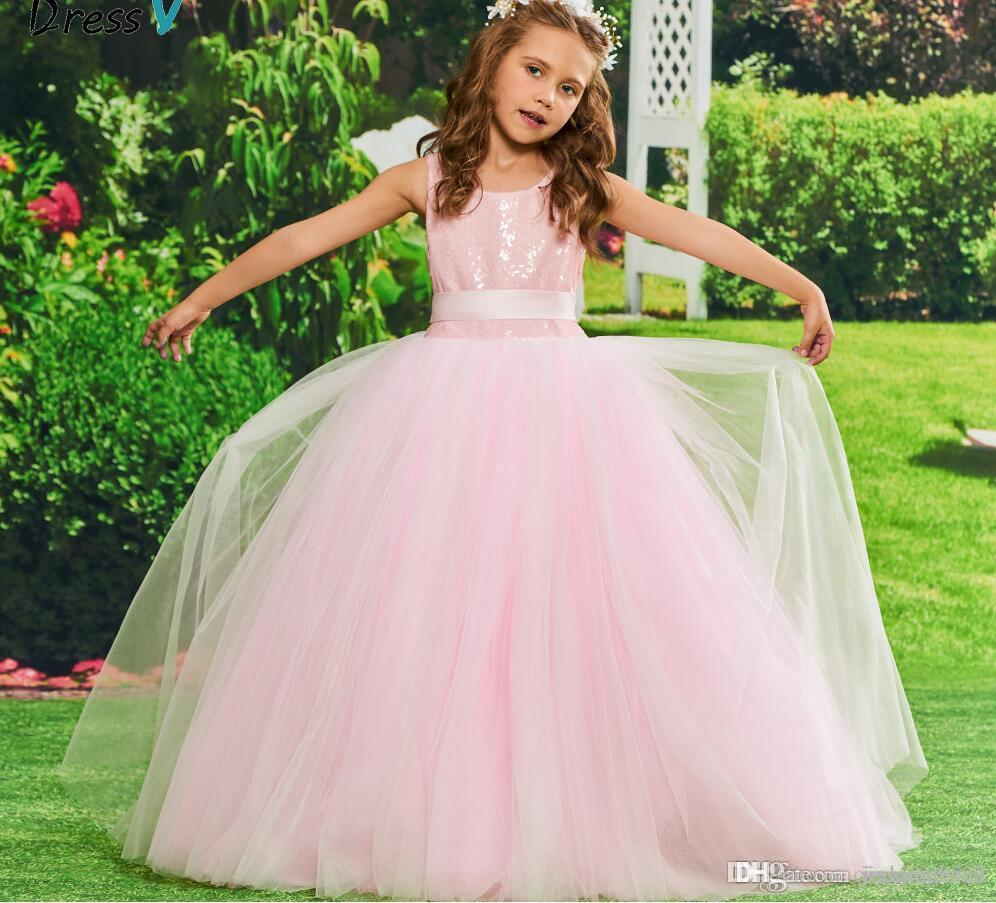 3a91281878f Pink Flower Girl Dress Ball Gown Sequins Birthday Party Floor Length Tulle  Zipper Up Bowknot Flower Girl Dress Customiz Tulle Flower Girl Dresses Tutu  ...