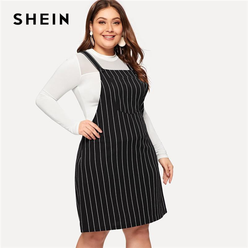 2019 Plus Size Black Striped Straps Mini Pinafore Dress Women 2019 ...