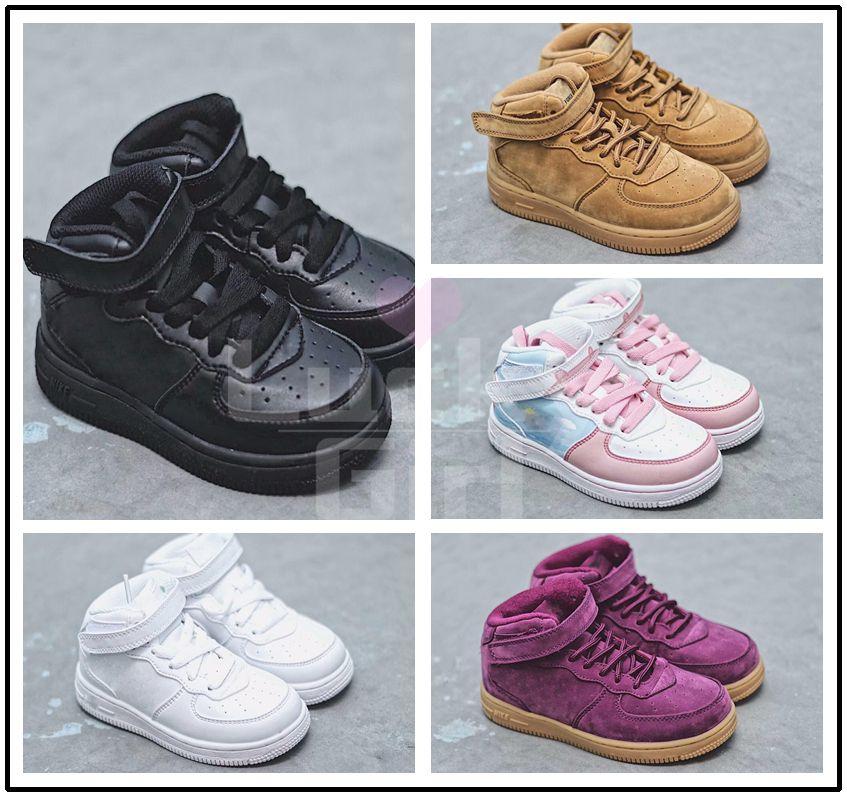 2019 nike air force1 Baby Kids Classic AF Sneakers Trainer Jungen Mädchen Air High Low Cut Lila Schuhe Sport Skateboarding Kinderschuhe US 22 35